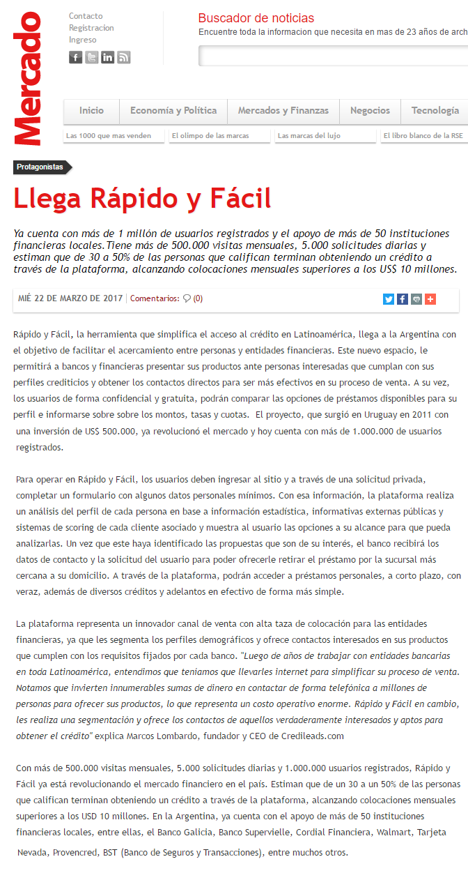RAFA en Revista Mercado Online 22.03.2017